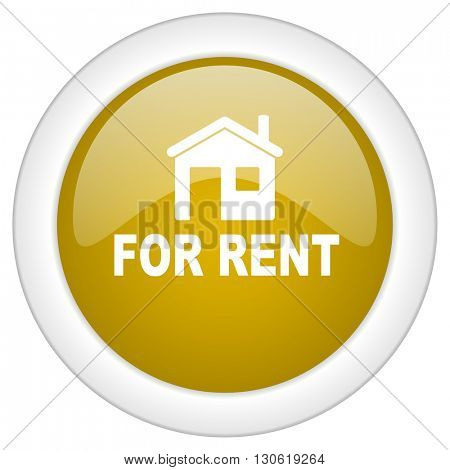 for rent icon, golden round glossy button, web and mobile app design illustration