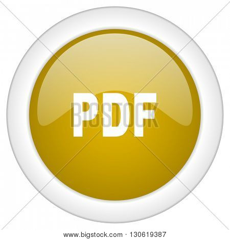 pdf icon, golden round glossy button, web and mobile app design illustration