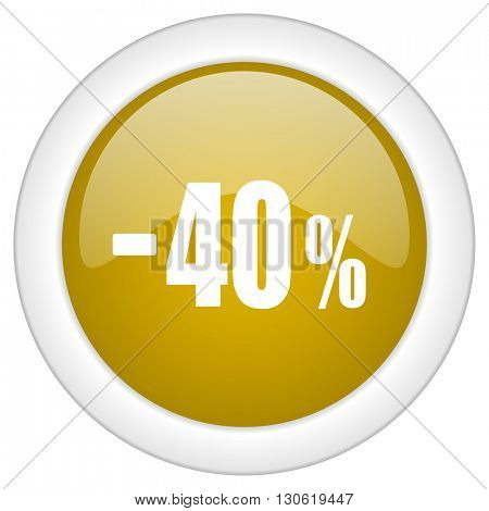 40 percent sale retail icon, golden round glossy button, web and mobile app design illustration