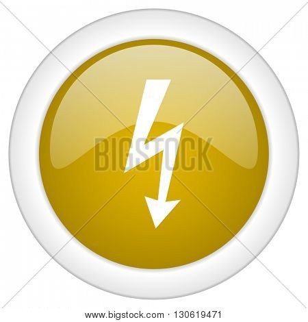 bolt icon, golden round glossy button, web and mobile app design illustration