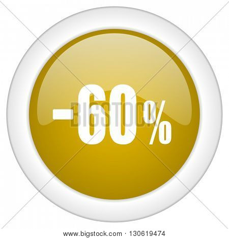 60 percent sale retail icon, golden round glossy button, web and mobile app design illustration