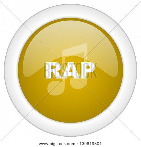 rap music icon, golden round glossy button, web and mobile app design illustration