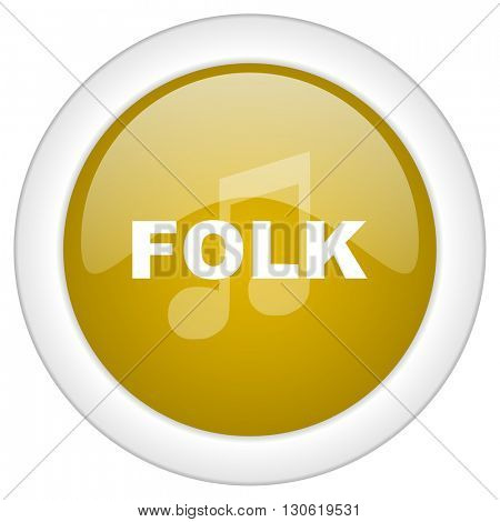 folk music icon, golden round glossy button, web and mobile app design illustration