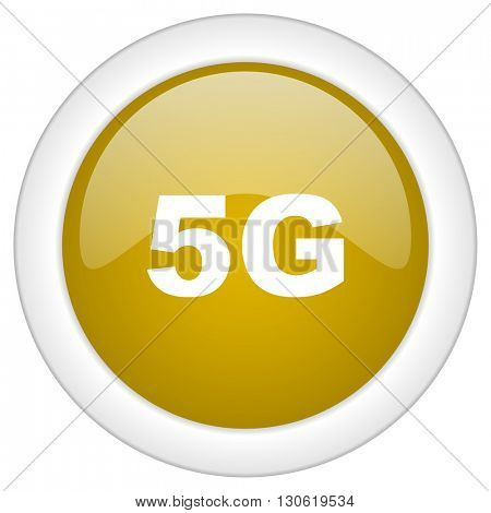 5g icon, golden round glossy button, web and mobile app design illustration