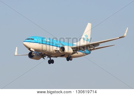 SAINT PETERSBURG, RUSSIA - MARCH 28, 2016: The Boeing 737 (PH-BGF) KLM Royal Dutch Airlines landing in Pulkovo airport