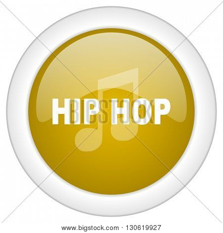 hip hop icon, golden round glossy button, web and mobile app design illustration