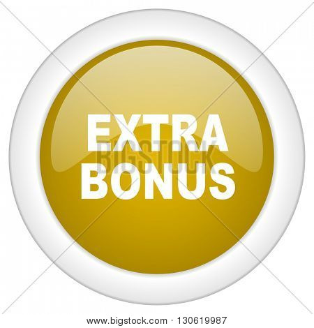 extra bonus icon, golden round glossy button, web and mobile app design illustration