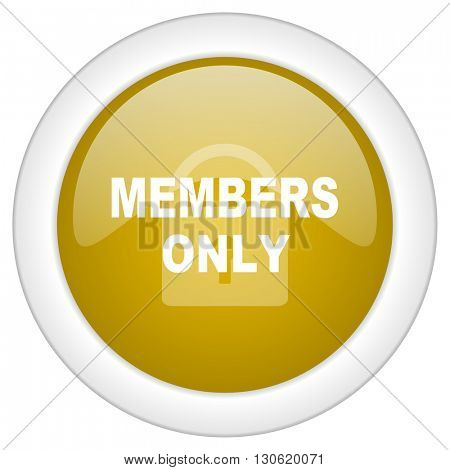members only icon, golden round glossy button, web and mobile app design illustration