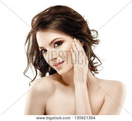 Beautiful Woman Portrait Curly Flying Hair Touching Face