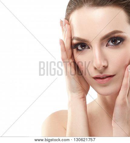 Beautiful Woman Face Neck Shoulders Close Up Portrait