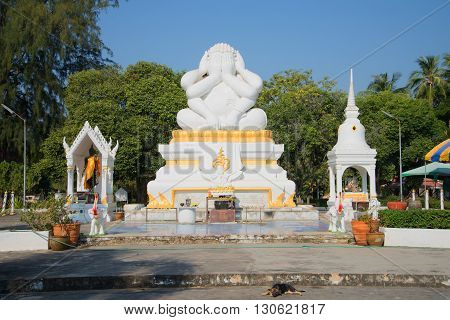 CHA-AM, THAILAND - JANUARY 04, 2014: View of the six-armed sculpture of Buddha in the Naranarayana. The landmark of Cha-am, Thailand