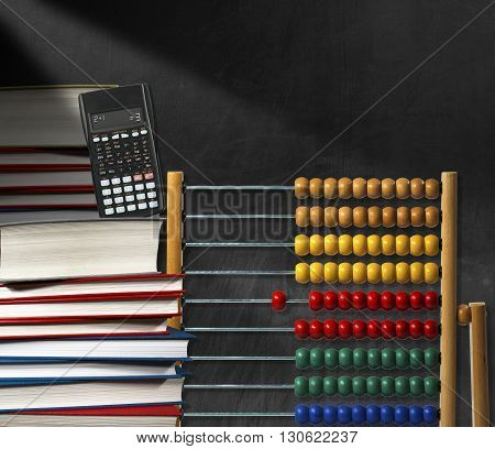 Wooden and colorful abacus a stack of books and a modern calculator on a empty blackboard with copy space