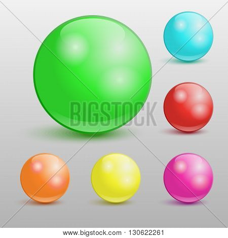 Collection of colorful glossy spheres. Vector illustration for your design.