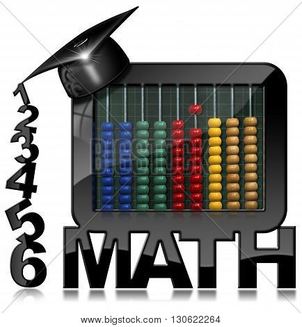 3D illustration of a wooden colorful abacus in a modern blackboard with a graduation hat and numbers. Isolated on white background