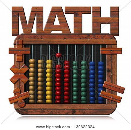 3D illustration of a colorful abacus in a blackboard with wooden frame with text math and mathematical symbols. Isolated on white background