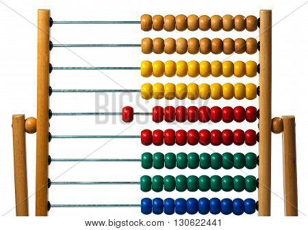 Detail of a wooden and colorful abacus isolated on a white background