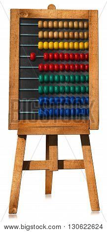 3D illustration of a wooden and colorful abacus on an easel. Isolated on white background