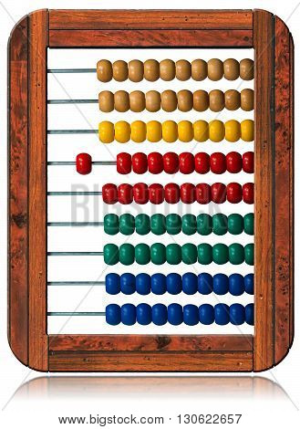 3D illustration of a colorful wooden abacus with wooden frame isolated on white background
