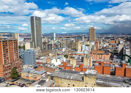 A cityscape view of downtown Bogota Colombia