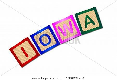 A collection of wooden block letters spelling Iowa over a white background