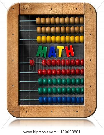 3D illustration of a chalkboard with wooden frame colorful abacus and text Math (magnetic letters). Isolated on white background