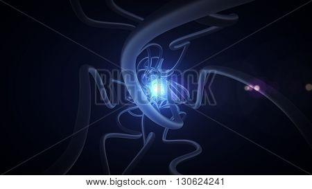 Fiber Optic Channels  In The Dark Closeup