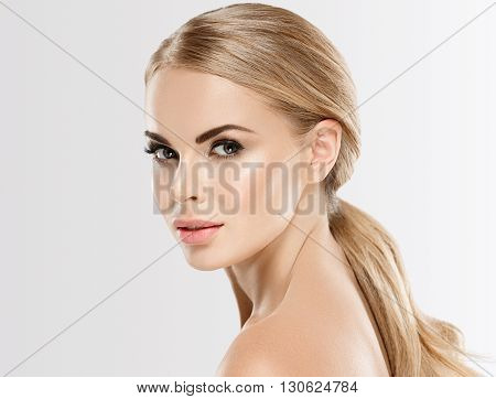 Beautiful Woman With Blonde Hair Close Up Portrait
