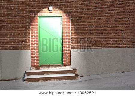 Green Door Under Light