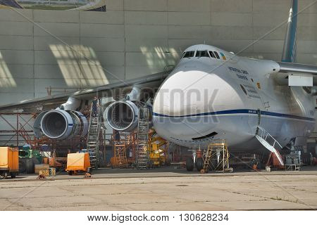 Kiev Ukraine - August 3 2011: Antonov An-124 Ruslan cargo plane being maintenanced in hangar