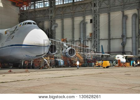 Kiev Ukraine - August 3 2011: Antonov An-124 Ruslan cargo plane being maintenanced in service hangar