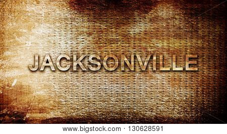 jacksonville, 3D rendering, text on a metal background