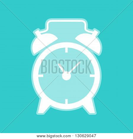 Alarm clock sign. White icon with whitish background on torquoise flat color.