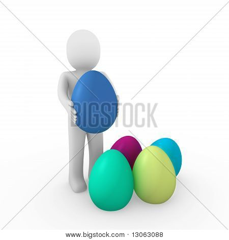 3D Human Easter Egg Colorful