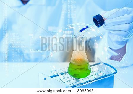Scientist With Equiment Laboratory For Science Concept.