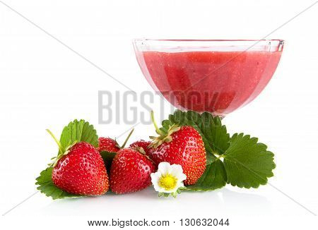 Fresh Strawberries With Goblet,leaves,flower Isolated On White