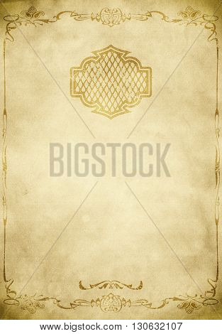 Aged dirty paper background with decorative old-fashioned border and frame. Vintage paper texture for the design.