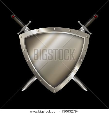 Shield with riveted border and two swords on black background.