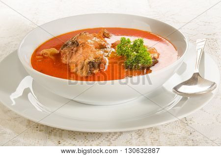 hungarian carp soup with sour cream in a white soup plate