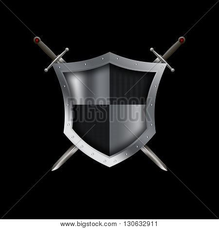 Silver shield with riveted border and two swords on black background.