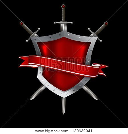 Red shield with elegant red ribbon and swords on black background.