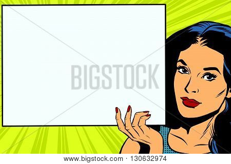 Brunette girl holding a blank rectangular poster pop art retro vector. Advertising and announcement retro pop art
