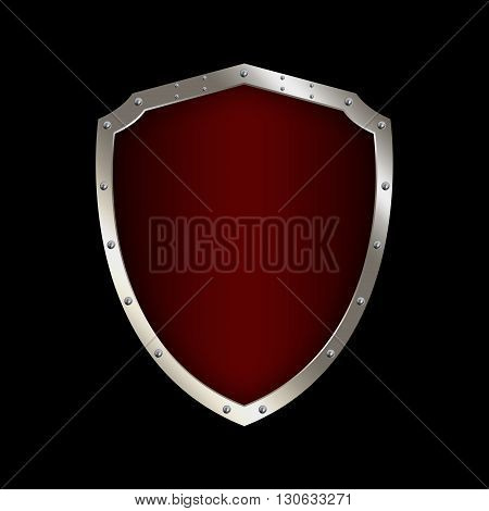 Red shield with chrome riveted border on black background.