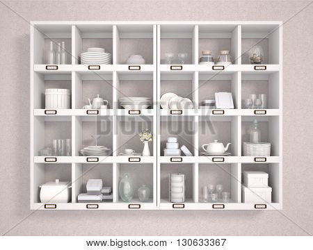 3d illustration of various kitchen accessories on white shelves