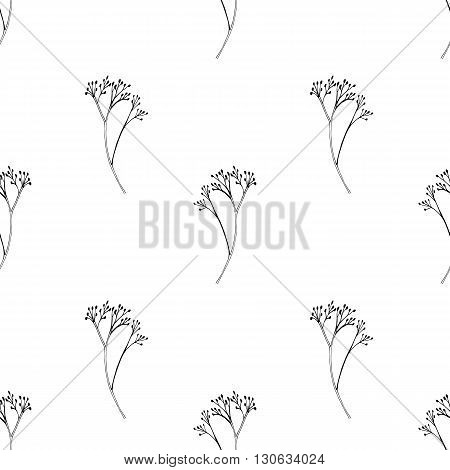 Vector seamless pattern with ink hand drawn herbs. Vintage isolated background. Textile design