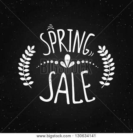 Spring sale - lettering on the chalk background. Vector illustration of discount. Website banner