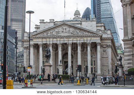 LONDON, UK - OCTOBER 14, 2015. Royal exchange building. Bank of England square