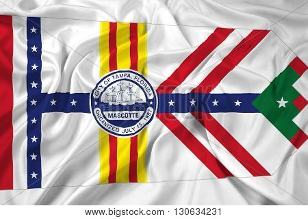 Waving Flag of Tampa Florida, with beautiful satin background