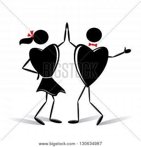 couple. Two dancing hearts on a white background