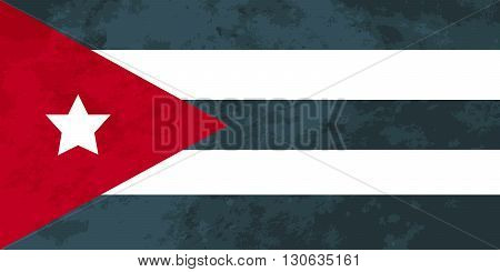 True proportions Cuba flag with grunge texture