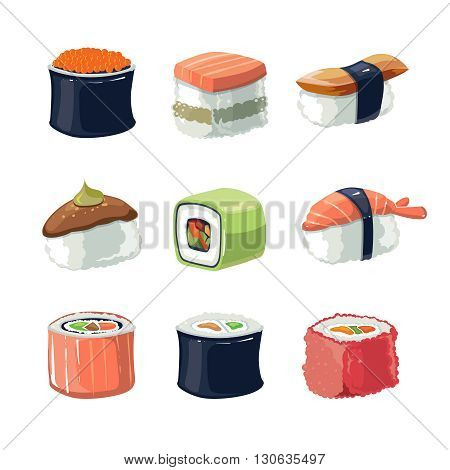 Vector picture set of Sushi rolls food and japanese sea food. Sushi illustration set with flat color. Sushi icons isolate on light background